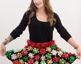 Ugly Christmas Sweater - Christmas Bow Skirt - Ugly Christmas Sweater Party - Bow Skirt -