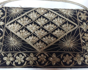 Vintage Zardozi Indian Evening Purse, Bullion Embroidery, Worked in Silver Metal Threads, Black Velvet, Made in India, 1940s-60s