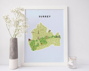 Map of Surrey - Illustrated Map of Surrey