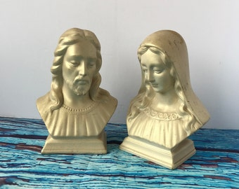 Vintage Chalkware Jesus and Mary Busts by Holland Mold, Madonna and Jesus Busts, Religious Busts, Bust of Jesus Christ, Bust of Madonna