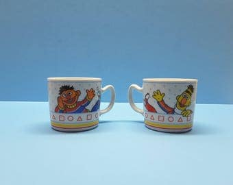 Vintage Sesame Street Cups  Bert and Ernie Sesame Street Characters  Learning Colors and Shapes    Chocolate Milk and Juice Cups