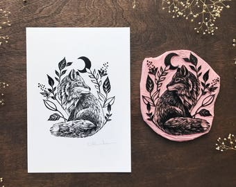 Hand printed 5 x 7 Fox and Foliage