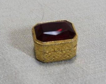 Vintage Gold Color Florenza Ring Pill  Snuff Trinket Box Collectible Art Deco