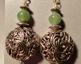Beautiful Jade Earrings with large silvertone beads. Green Earrings, Holiday Earrings, Long Jade Earrings