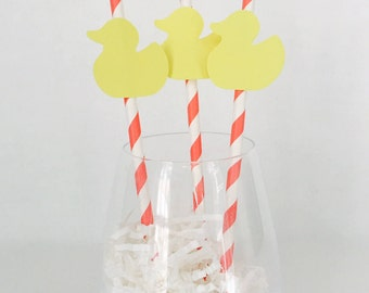 12 Baby Shower Party Straws - Rubber Duck Shower Decorations - New Baby - Pink - Blue - Yellow - Baby Sprinkle - Stripes - Paper Straws