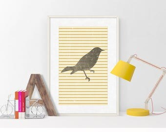 Gray Bird | Print Bird | Painting Bird | Illustration Bird | Art Print Bird | Digital Print | Yellow Stripes | INSTANT DOWNLOAD