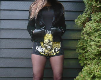 Iron Maiden hotpants   nwobhm   high waisted   biker shorts   metal clothing   heavy metal   booty shorts   Dark Mother Clothing
