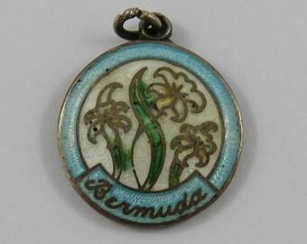 Bermuda White Enamel Flowers Sterling Silver Vintage Charm For Bracelet