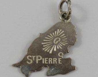 Map of St. Pierre Sterling Silver Vintage Charm For Bracelet