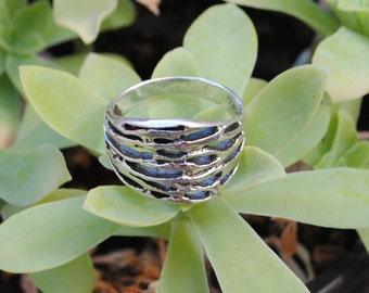 Silver ring - vintage ring - large ring - unisex ring