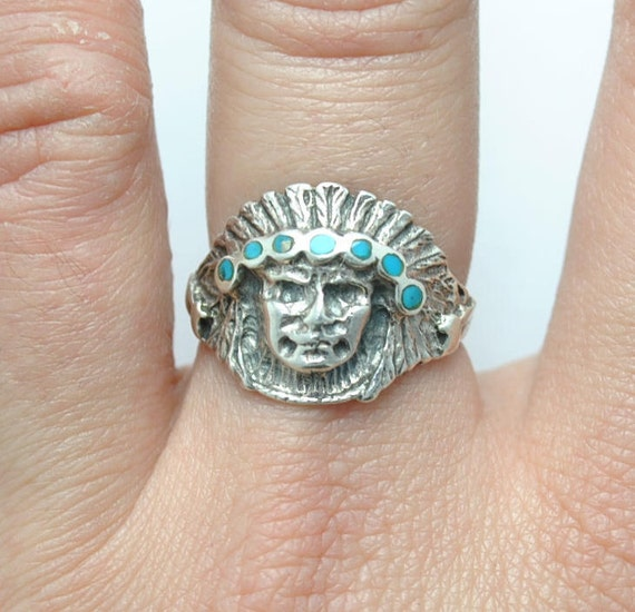 Indian silver ring turquoise, vintage indian ring, turquoise ring, native american jewelry, vintage turquoise jewelry, indian jewelry
