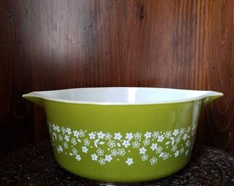Vintage Pyrex 475 Spring Blossom 2 Milk Glass Casserole Dish