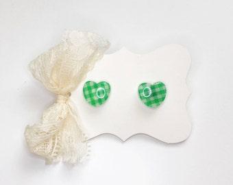 Lime Green Gingham Heart Stud Earrings