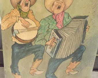 1940's Unsigned Handpainted Board Comical Rag Time Cowboy Joe Painting Whimsical Banjo Accordian Constantina