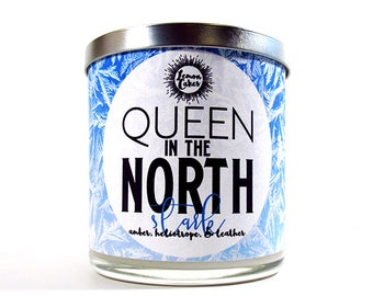 Queen in the North - Bookish Candle - 9oz Wood or Double Wick Soy Candle - LemonCakes Candle Co - Amber, Heliotrope, Leather