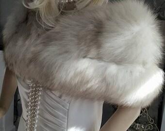Luxury Vintage  Fur Stole - Fox Stole - Norwegian Blue Fox Fur Wrap - Shawl - Cape -  Fur Shrug - Real Fur - Luxury Bridal  Wedding -Gatsby