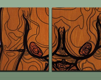 """Layla"" Mixed Media Diptych Painting [two 16x20"" canvases]"