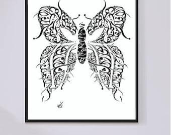 Rumi Poetry - Farsi/Persian Poetry written in Arabic - Arabic Wall Art - Black Ink on White Arabic Calligraphy Butterfly Print -