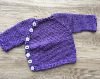 Sweater,  Newborn Sweater, Baby Girl Sweater, Hand Knit Sweater, Sized newborn up to 8 lbs