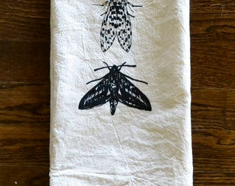 Leopard Moth and White Lined Sphinx Moth Screen Printed on Cotton Tea Towel, Dish Towel, Flour Sack Towel