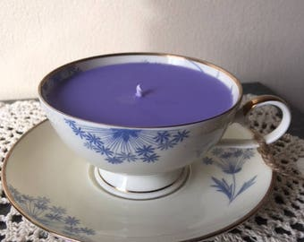 Blueberry Cheesecake Antique Teacup Soy Candle