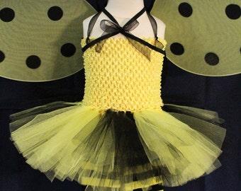 Baby girl Halloween costume,Bumble bee costume,Yellow bumble bee tutu dress,Bumble bee wings,Bumble bee leggings,Bumble bee headband,Yellow
