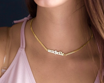 Custom Choker Necklace-Gold Name Necklace-Personalized Choker Necklace- Graduation Gift-Bridesmaid Gift-Name Choker - Gothic Name Choker