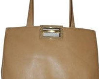 Free Shipping! VINTAGE SALVATORE FERRAGAMO 15 x 12 x 3.5 Tan Tote Shoulder Bag Italy