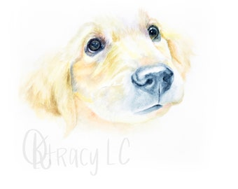 Golden Retriever Puppy Watercolor Painting