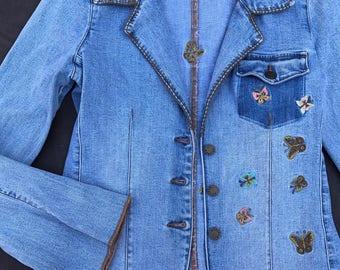 Vintage boho denim jacket, Denim jean jacket, butterfly, Reality brand denim jacket with butterflies, vintage jean jacket