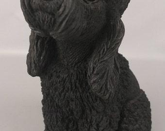 Vintage Classic Critters Black Poodle Dog Figurine Glass Eyes 1984 Resin UDC USA Made