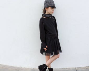 Girl Black Tulle Dress, Trendy Girls Dress, Girl Long Sleeves Dress, Tutu Dress, Baby girl Dress 18-24 M To Size 8 - by PetitWild