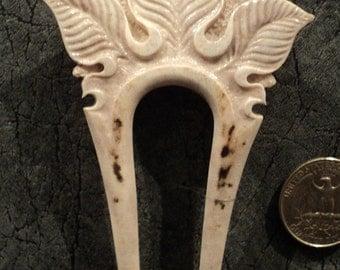 SCA Carved Antler Hair Fork -Hair accessories-Historical Costume-Bone carving-real Deer horn-Carved Antler-hair fork-handmade LARP