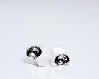 Geometric earrings, porcelain earrings, white stud earrings, mens earrings, earrings for men, square earrings, square studs, Christmas gift