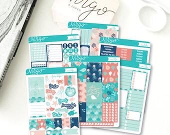 Vertical Kit - Sea Life Planner Sticker Kit - Ocean, Beach, Summer 6 Sheet Sticker Kit - Hand Drawn Vertical Planner Sticker Kit OCKV