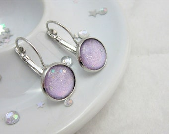 Holographic Purple Nail Polish Rainbow Cabochon Lever Back Dangle Earrings, Nail Varnish Earrings, Unicorn Earrings, Dangly Drop Earrings