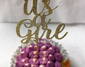 """Set of 12 """"It's a Girl"""" or """"It's a Boy"""" Cupcake Toppers / Pink and Gold Baby Shower Cupcake Toppers / Baby Blue and Gold Baby Shower Toppers"""