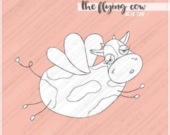Cow Digital Stamp-Flying Cow Digi Stamp-Kids Coloring Page-Cow Clipart-Farm Animals-Digital Image-Line Art-Digi Download-Instant Download
