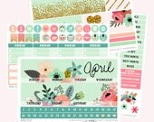 APRIL Monthly View Planner Sticker Set | Fits ECLP or Classic Happy Planner