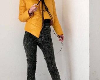 NEW Extravagant Asymmetric Jacket / Extravagant Short Yellow Jacket / Extravagant Jacket With Ribbon / Outerwear by FabraModaStudio / FAB802