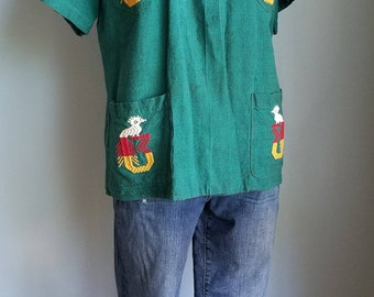 vintage handwoven multi-colored embroidered shirt top