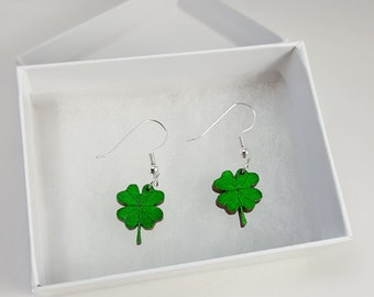 Wooden Green Four Leaf Clover Earrings / Laser Engraved Wood With Silver, Gold or Bronze Fish Hook Earrings