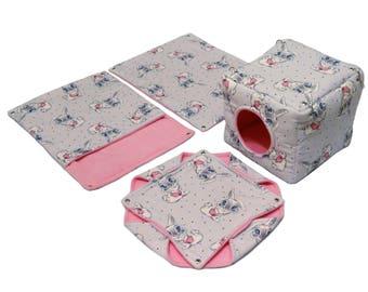 Rat hammock set - 4  hammocks: cube, honeycomb, pocket, rectangle. Bunnies and pink. Hammocks for rodents, pet rat accessories.