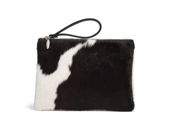Cowhide Clutches | Black and White Clutch | Oversized Clutch Bag | Large Black Clutch