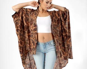 Bohemian Kimono, Kimono Cardigan, Oversized Kimono, Brown Paisley, Kimono, Boho Kimono, Batwing Cardigan, Kimono Cover up, Swimsuit Coverup