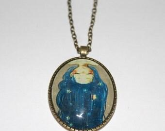 Handmade Vintage Crazy Girl Necklace