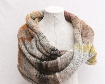 Xmas handknit shawl / Nursing mother wrap / Oversized wool scarf / Travel wrap shawl / Chunky infinity scarves - Winter woods 3