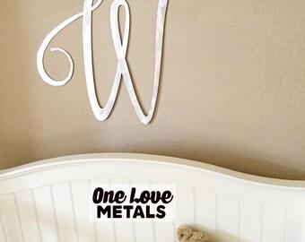 "Large Monogram, Large Letter, in Metal - up to 32""x27"" - Large Letter Wall Decor not Wooden Large Letters Monogram Nursery Wedding"