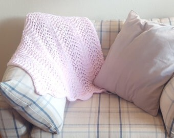 Pink Wavy Lace Baby Blanket