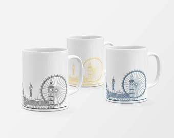 London Skyline Mugs Collection of 3 | City mug | London Illustration | Architecture Print | Christmas gift